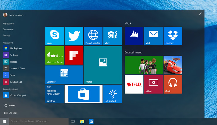 The new Start menu in Windows 10